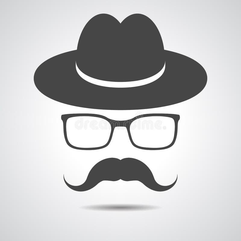 Черная шляпа при усик и стекла изолированные на сером backgroun бесплатная иллюстрация
