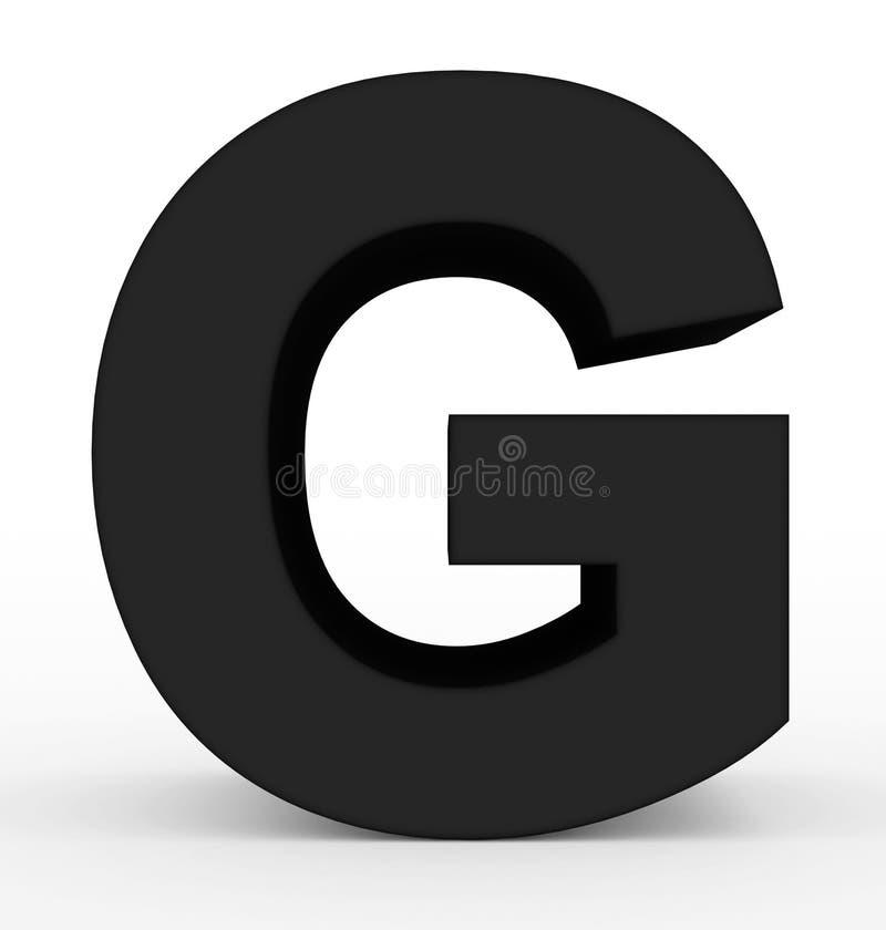 Черная g 3d письма изолированная на белизне иллюстрация штока