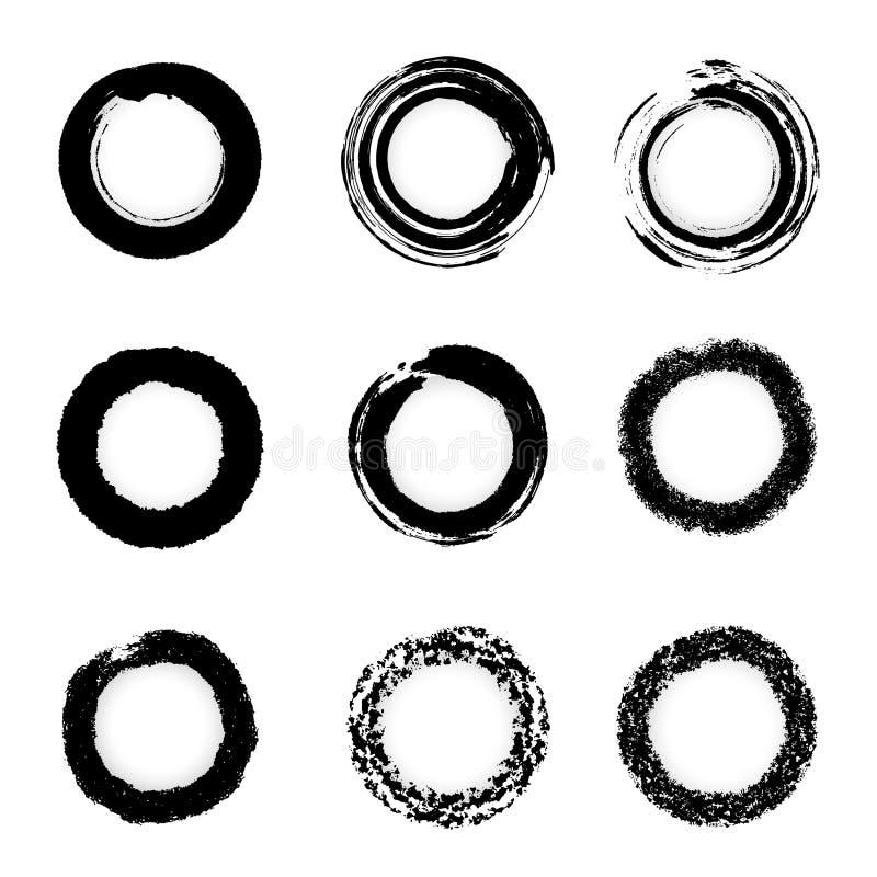 чернила grunge круга щетки граници устанавливают вектор иллюстрация штока