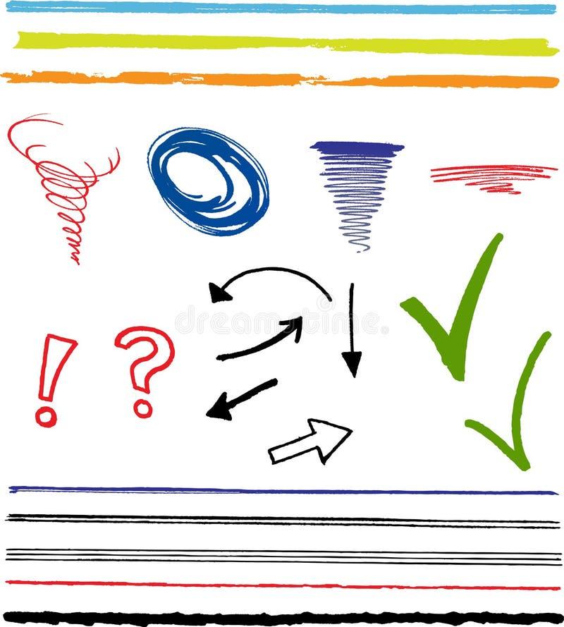 чернила highlight doodles стрелок иллюстрация штока