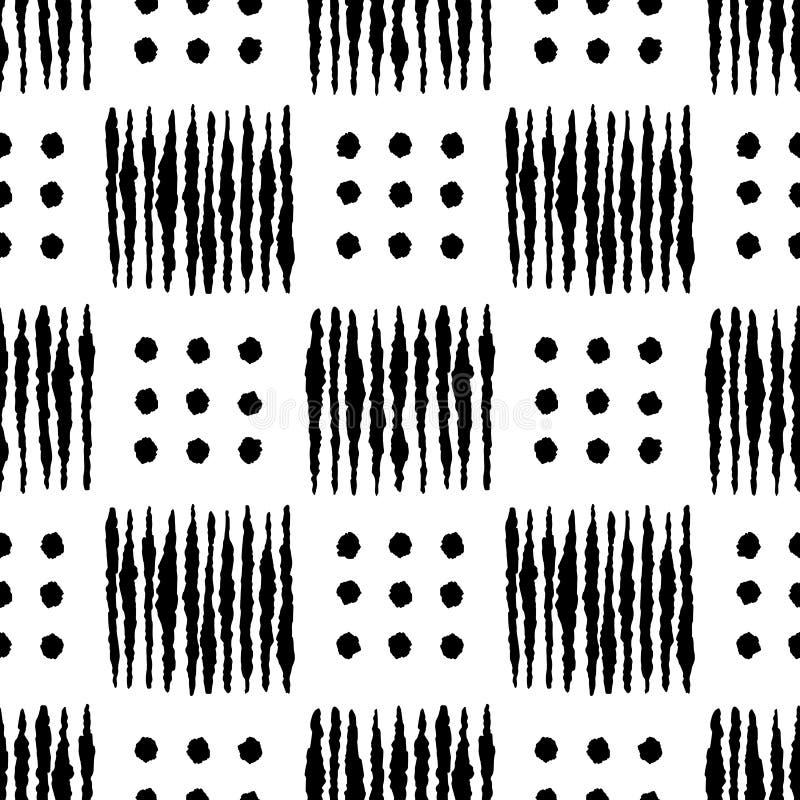 Чернил руки Boho картина геометрических вычерченных безшовная иллюстрация вектора