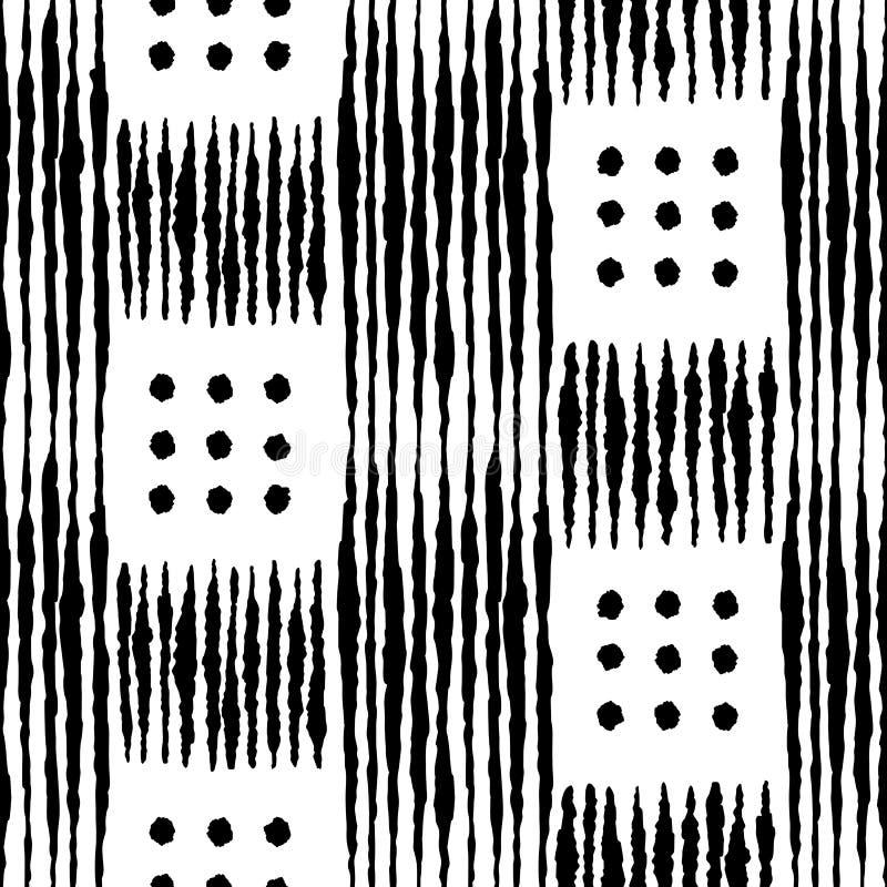 Чернил руки Boho картина геометрических вычерченных безшовная бесплатная иллюстрация