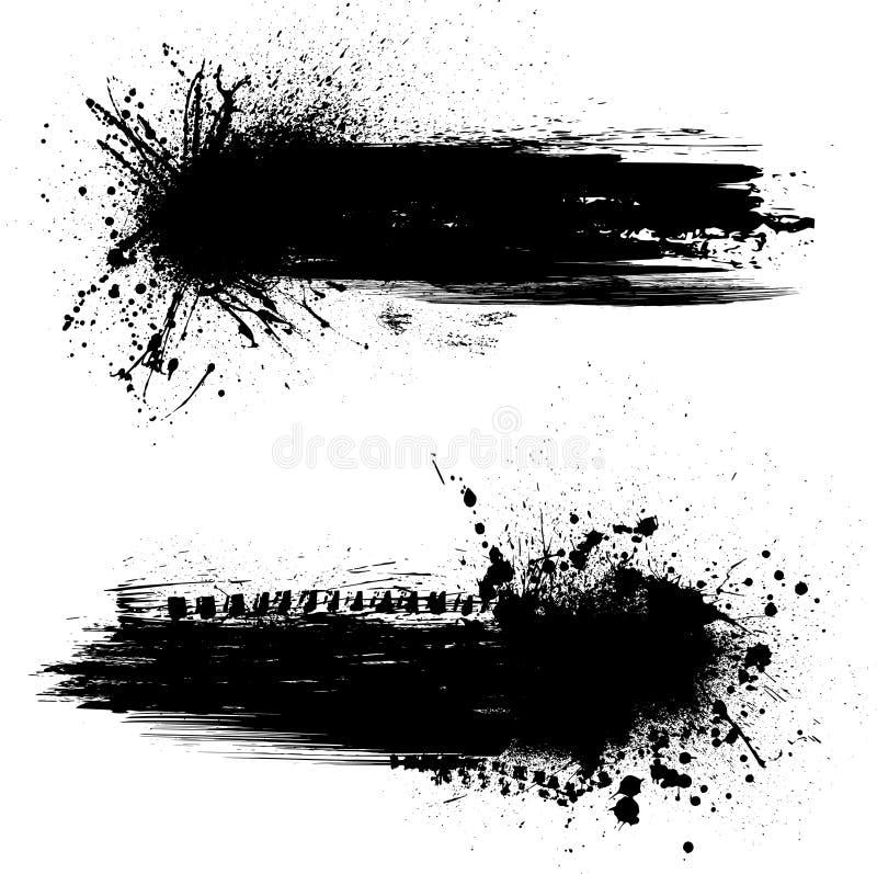 Чернила закрывают знамена иллюстрация вектора