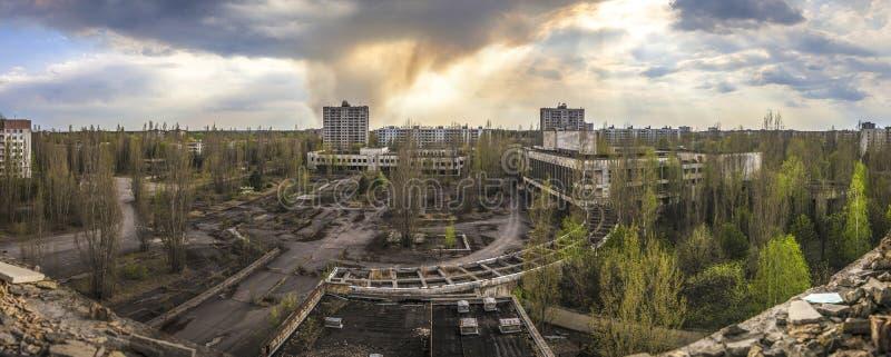 Чернобыль - широкоформатный взгляд Pripyat стоковые фотографии rf