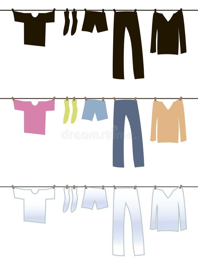 Черное, белое и покрашенное нижнее белье высушено после мыть на веревочке с зажимками для белья иллюстрация штока