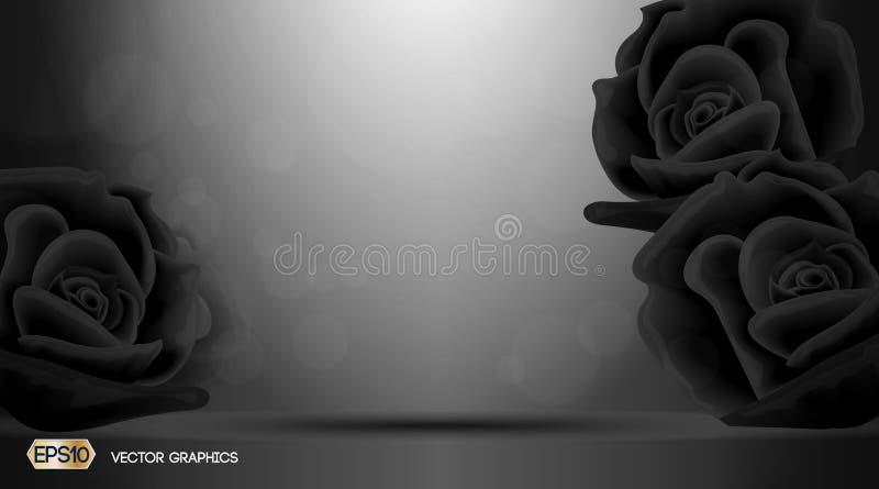 Черное благоухание цветков роз для объявлений Ослеплять предпосылка влияния реалистическая иллюстрация для объявлений, печать век бесплатная иллюстрация