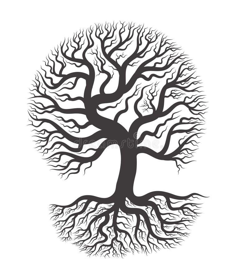 Черное дерево с корнем бесплатная иллюстрация