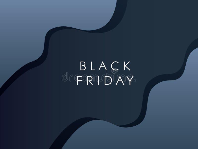 Черное знамя вектора продажи пятницы с современным материальным дизайном и элегантными кривыми Специальные предложения, скидки, р бесплатная иллюстрация