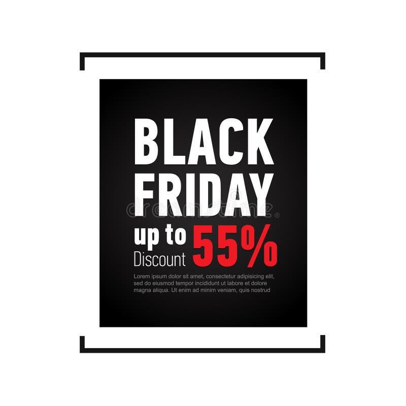 Черное знамя продажи пятницы на белой предпосылке Скидка до 55  Знамя рекламы для магазина, сети бесплатная иллюстрация