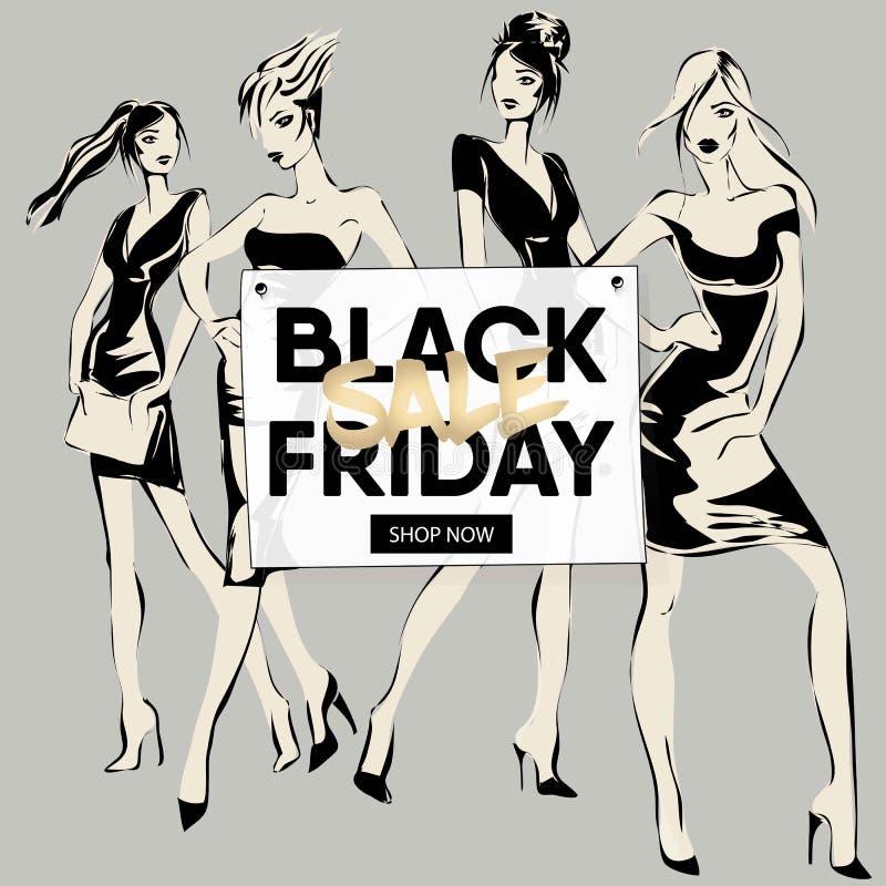 Черное знамя продажи пятницы с девушками моды, красивая женщина моделирует социальное собрание шаблона сети объявлений средств ма бесплатная иллюстрация