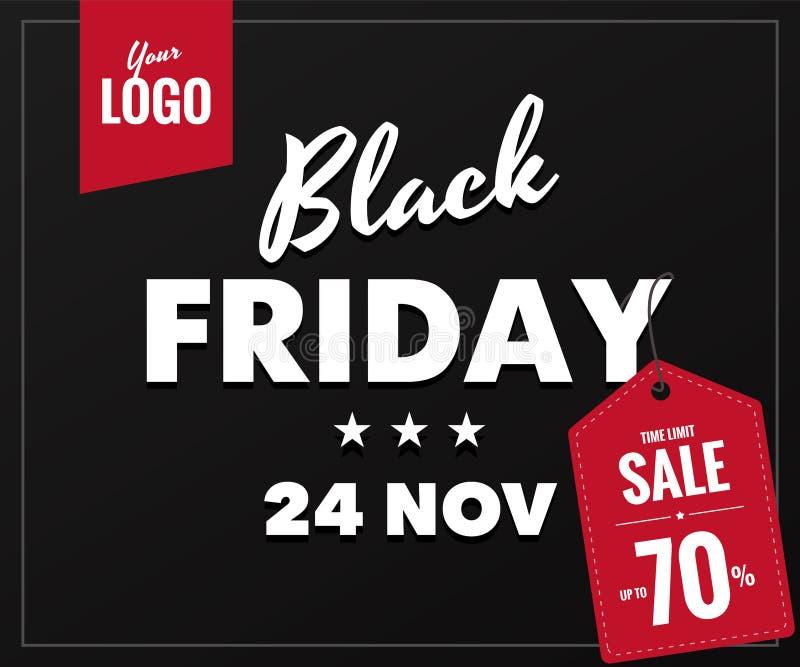 Черное знамя сети продажи пятницы иллюстрация штока