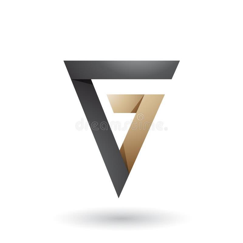 Черное и бежевое сложенное письмо g треугольника изолировало на белой предпосылке бесплатная иллюстрация
