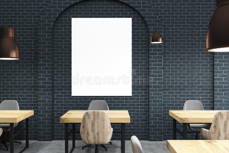Черное кафе кирпича, деревянные столы и плакат бесплатная иллюстрация