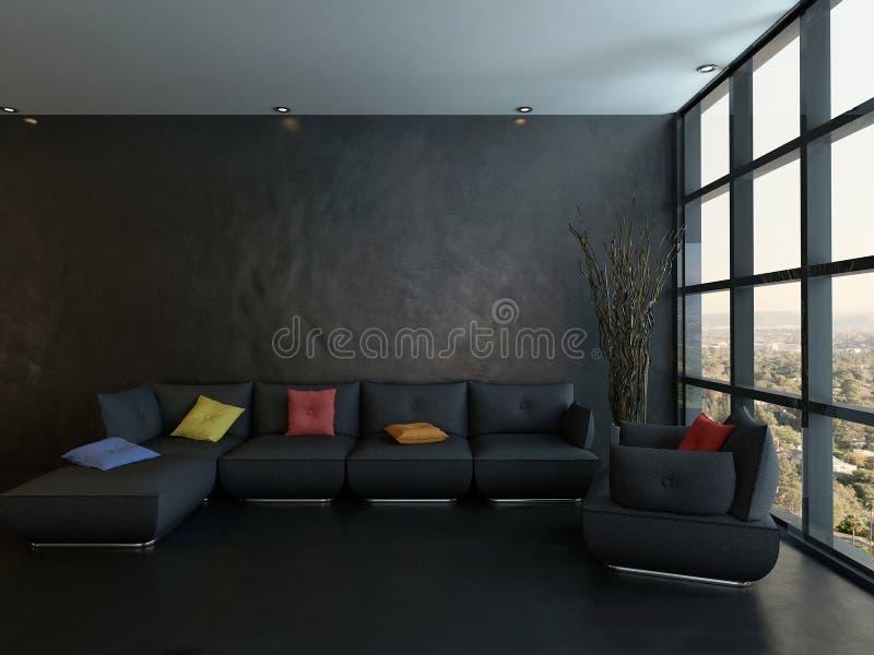 Черное кресло с красочными подушками против деревянной стены иллюстрация штока