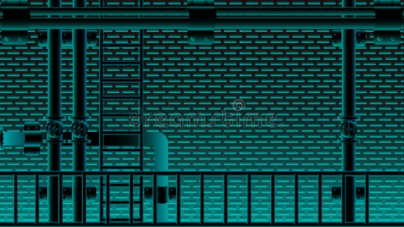 Черное мерцание neno лестницы кирпичной стены и трубы водопровода голубое освещая Иллюстрация EPS10 вектора бесплатная иллюстрация