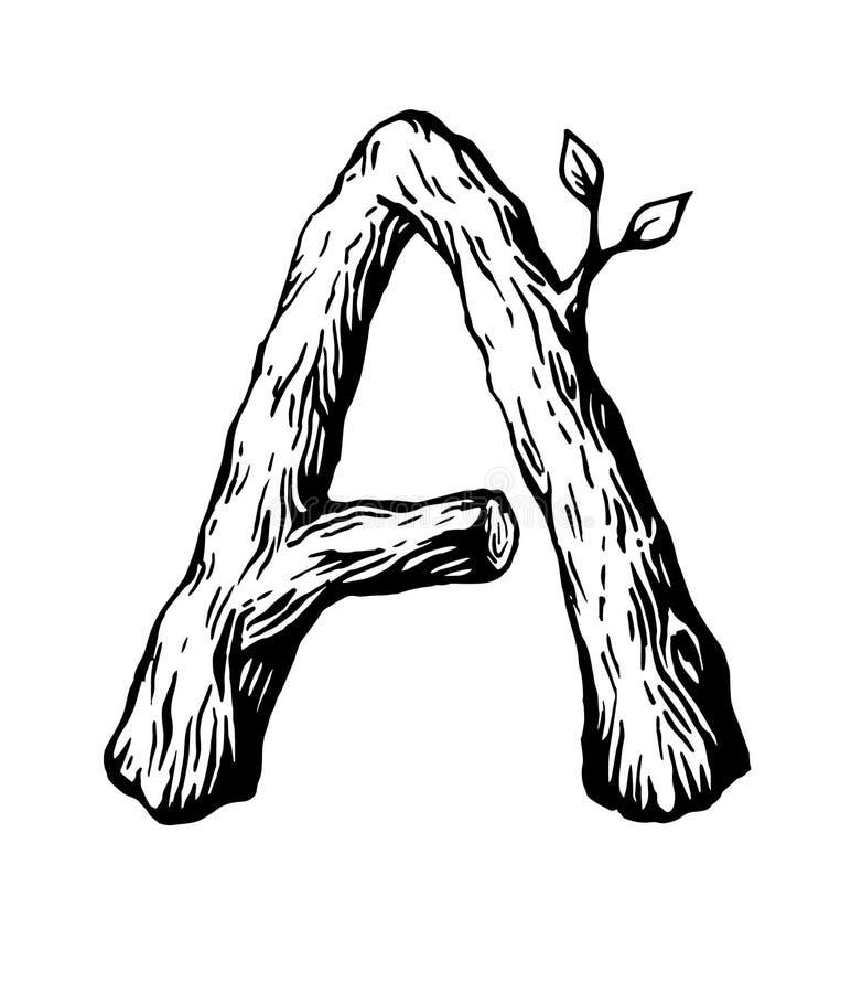 Черное письмо a гравировки сделало из древесины с листьями на белой предпосылке стоковое фото rf