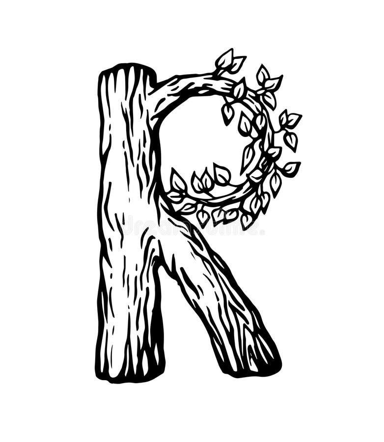 Черное письмо r гравировки сделанное из древесины с листьями на белой предпосылке иллюстрация вектора