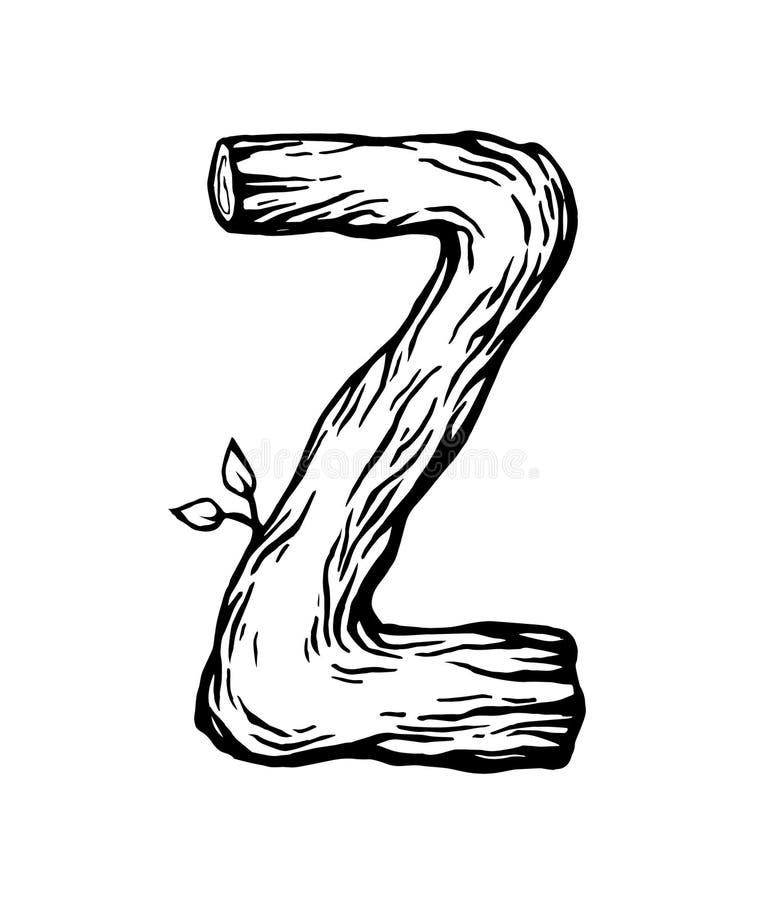Черное письмо z гравировки сделанное из древесины с листьями на белой предпосылке бесплатная иллюстрация