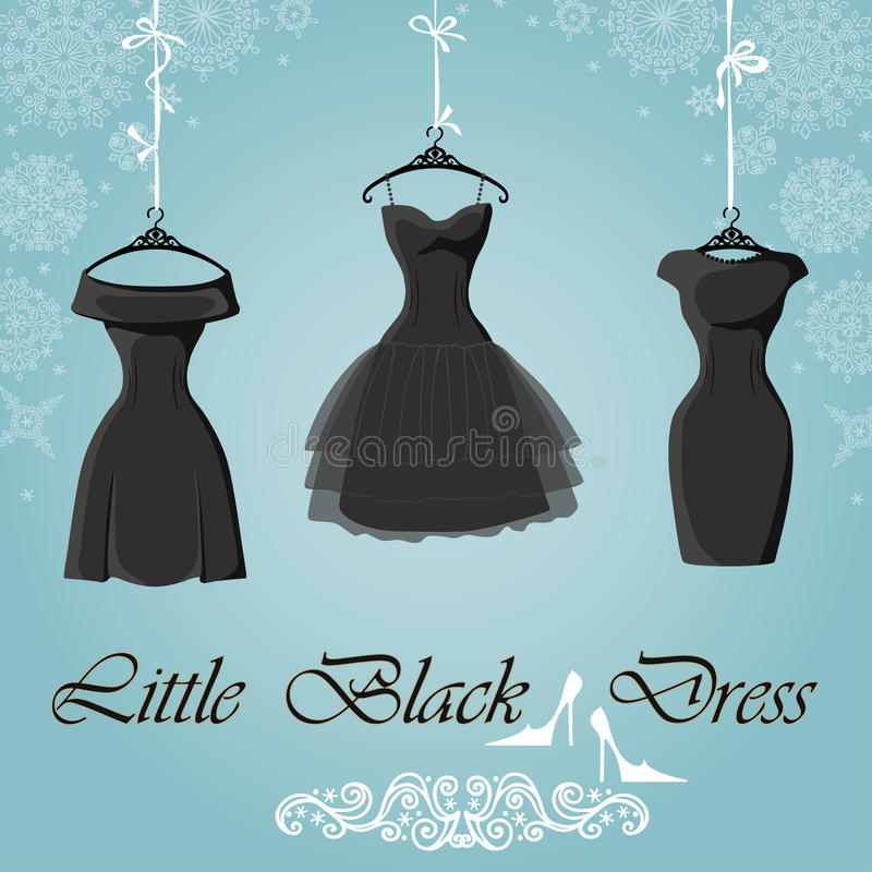 черное платье немногая Предпосылка снежинок зимы иллюстрация вектора