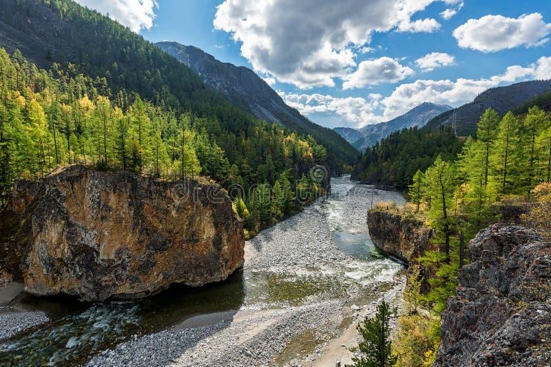Черное река Irkut в горах Sayan стоковые изображения