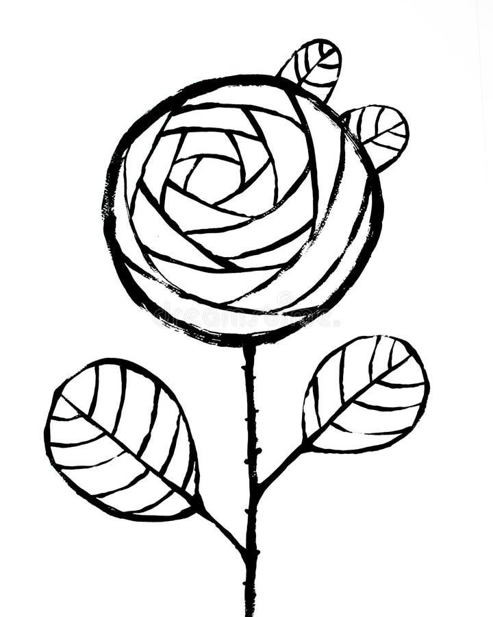 Черное Роза на белой предпосылке Абстрактный внутренний плакат Плакат конспекта хипстера внутренний Шаблон для печати высокого ра иллюстрация вектора