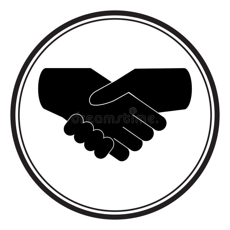 Черное рукопожатие значка Для дела и финансов иллюстрация вектора