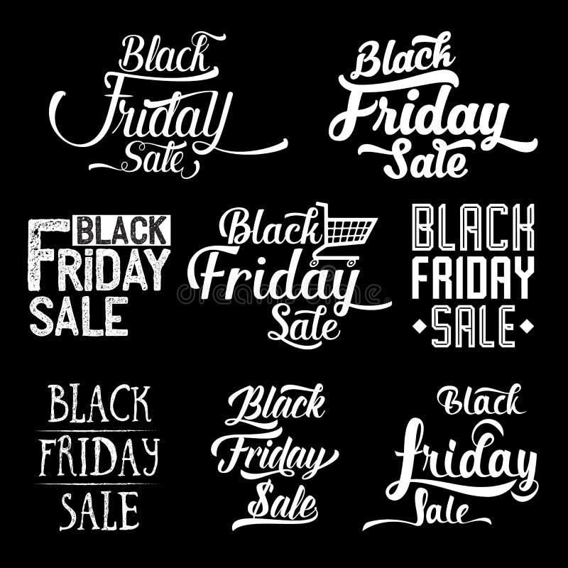 Черное собрание дизайна пятницы каллиграфическое бесплатная иллюстрация