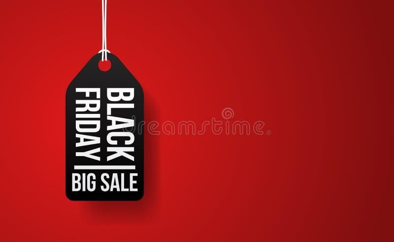 Черное событие продажи пятницы большое с иллюстрацией ценника иллюстрация вектора