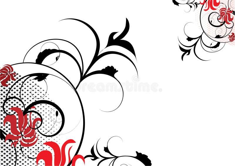 черное украшение цветет красный цвет иллюстрация вектора