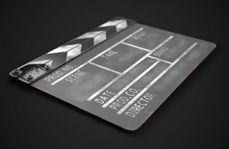 Черное clapperboard o Нумератор с хлопушкой фильма r иллюстрация вектора