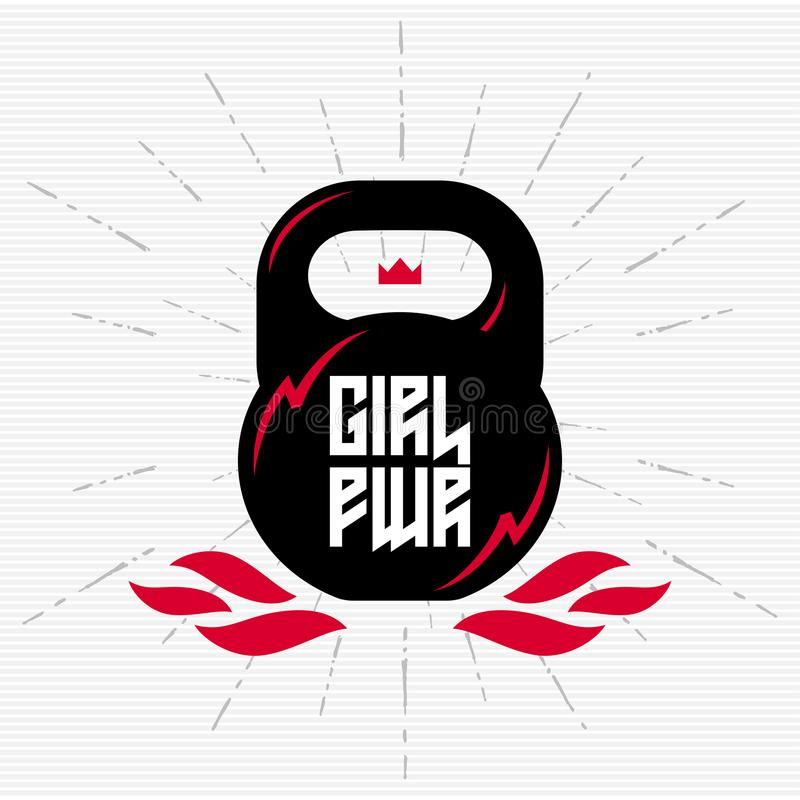 Черное kettlebell с феминист лозунгом - силой девушки Illu вектора бесплатная иллюстрация