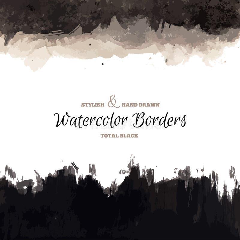 Черной границы акварели нарисованные рукой иллюстрация штока