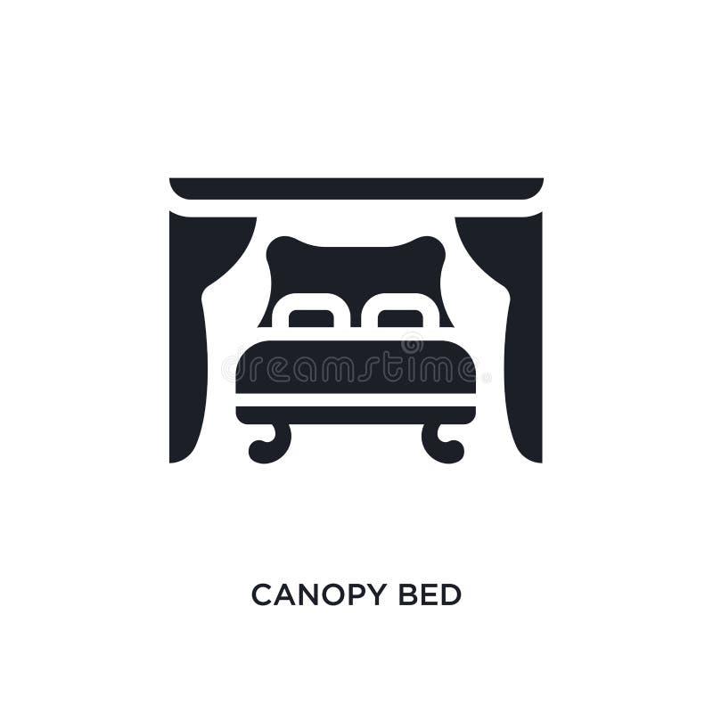 черной значок вектора сени изолированный кроватью простая иллюстрация элемента от значков вектора концепции мебели и домочадца кр бесплатная иллюстрация