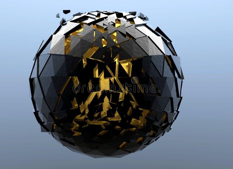 Черной изолированное 3d разрушенное сферой абстрактное иллюстрация штока
