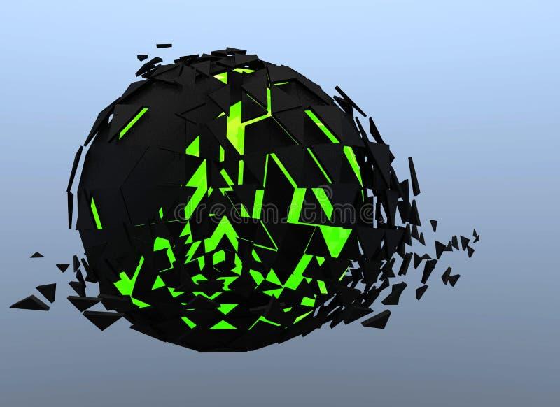 Черной и зеленой изолированное 3d разрушенное сферой абстрактное иллюстрация штока