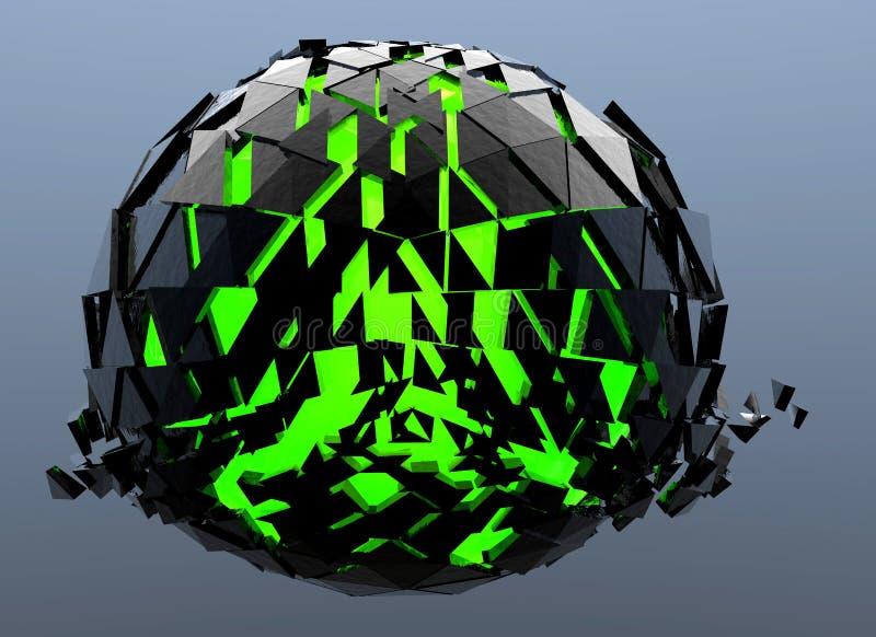 Черной и зеленой 3d разрушенное сферой абстрактное бесплатная иллюстрация