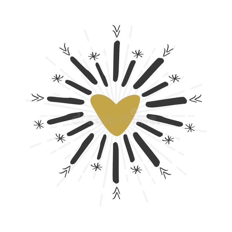 Черной и золотой и значок лучей звезды нарисованные рукой знак сердца бесплатная иллюстрация