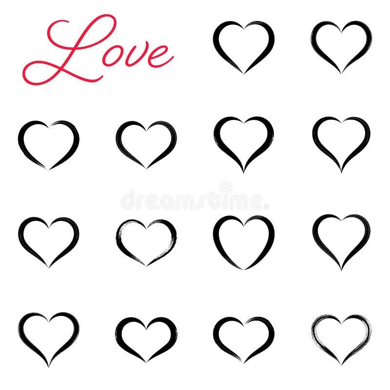 Черной простой нарисованные рукой значки сердца вектора иллюстрация вектора
