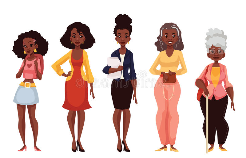 Чернокожие женщины различных времен от молодости к зрелости иллюстрация штока