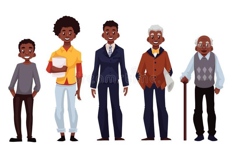Чернокожие человеки различных времен от молодости к зрелости бесплатная иллюстрация