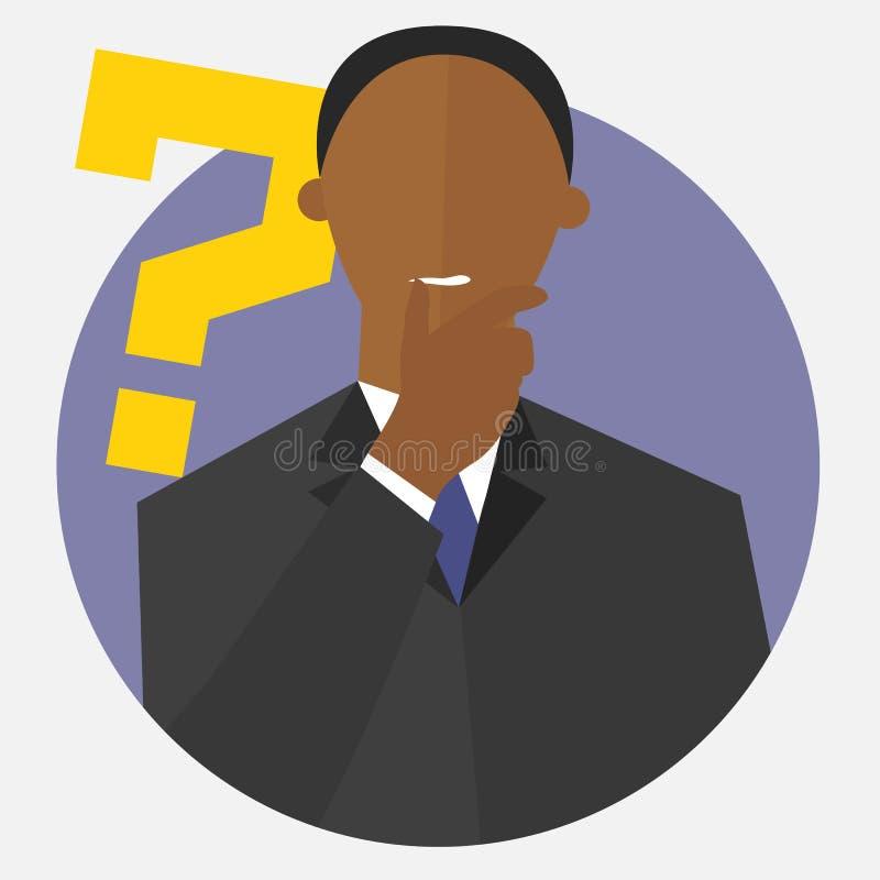 Чернокожий человек с вопросительным знаком Сомнения человека иллюстрация штока