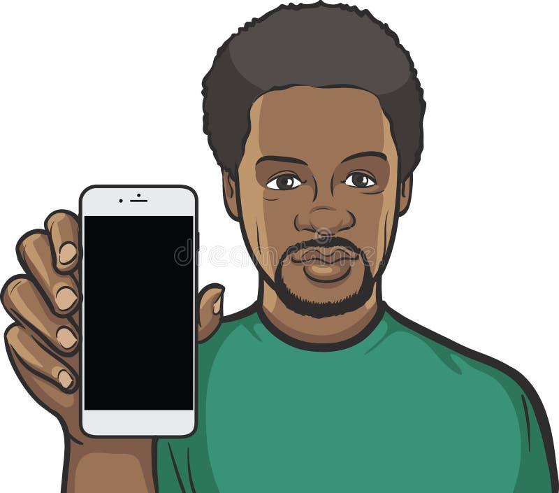 Чернокожий человек показывая передвижной app на умном телефоне иллюстрация штока