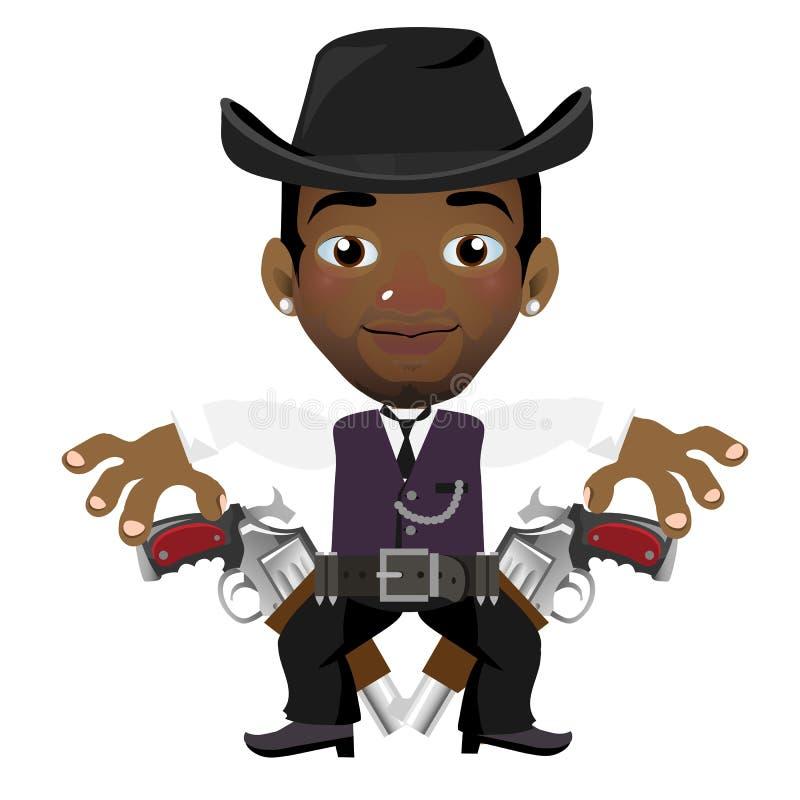 Чернокожий человек с шляпой и оружием, персонажем из мультфильма иллюстрация штока