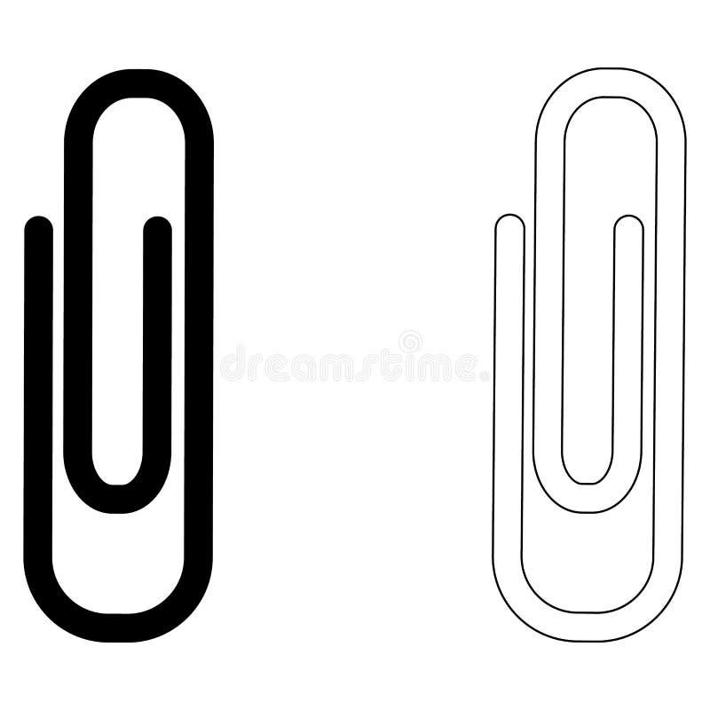 Чернота бумажных зажимов Установленные значки Квартира для дизайна иллюстрация штока