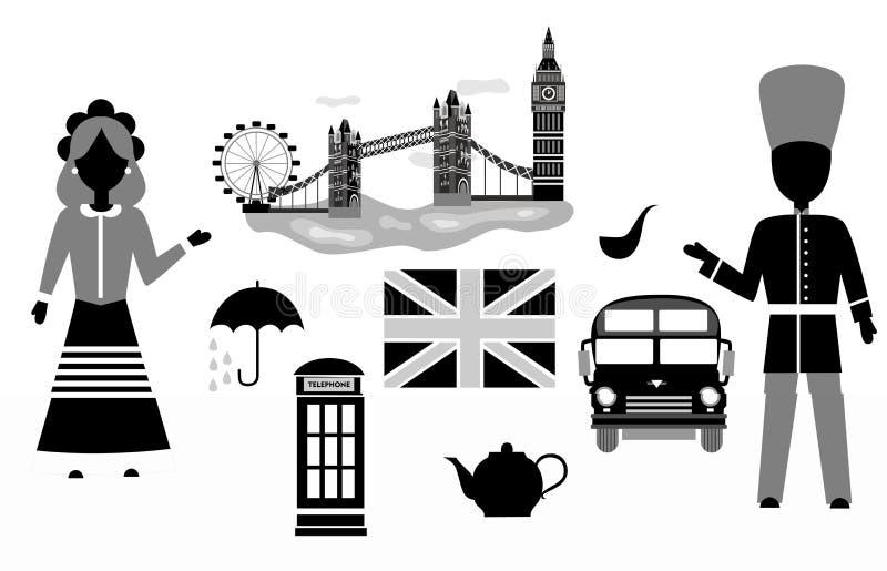 Чернота Великобритании установленная бесплатная иллюстрация