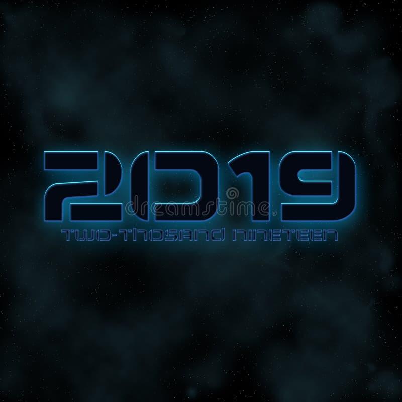 чернота & голубое свечение номера 2019 год, футуристические стоковое изображение