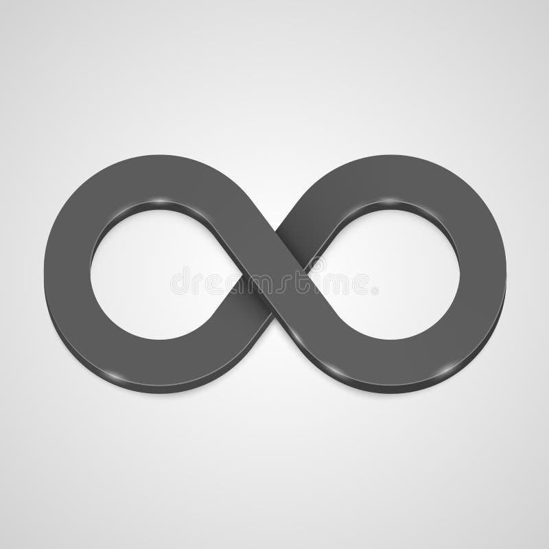 Чернота значка безграничности 3d, элемент дизайна шаблона бесплатная иллюстрация