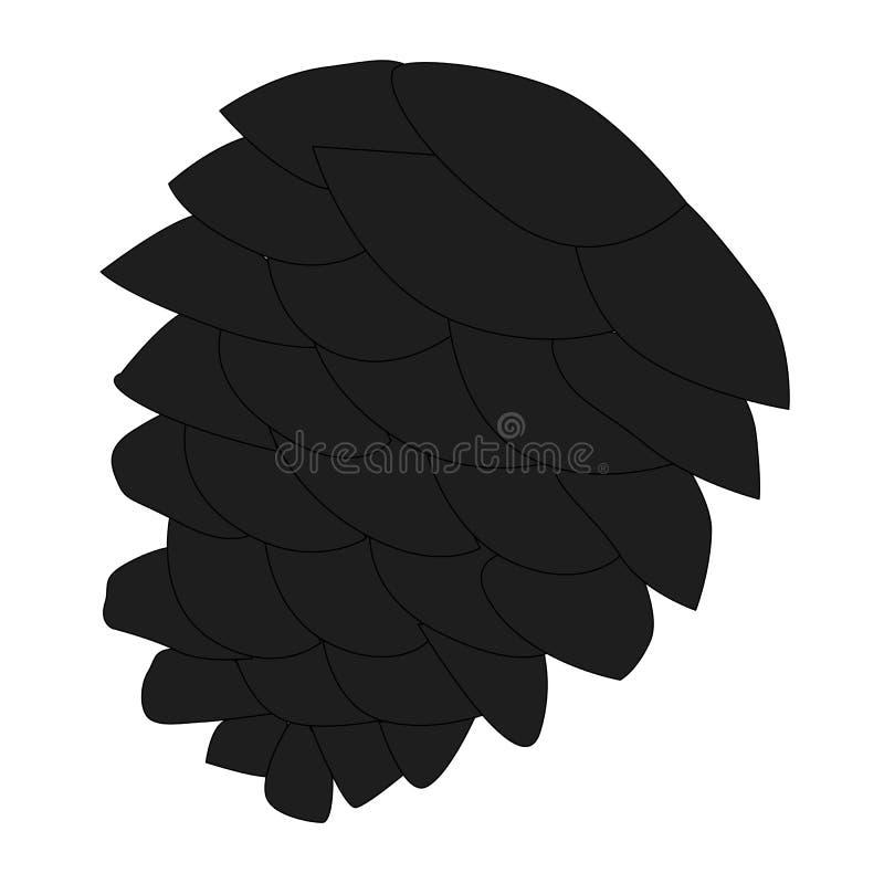 Чернота значка, конус сосны или спрус на белой предпосылке