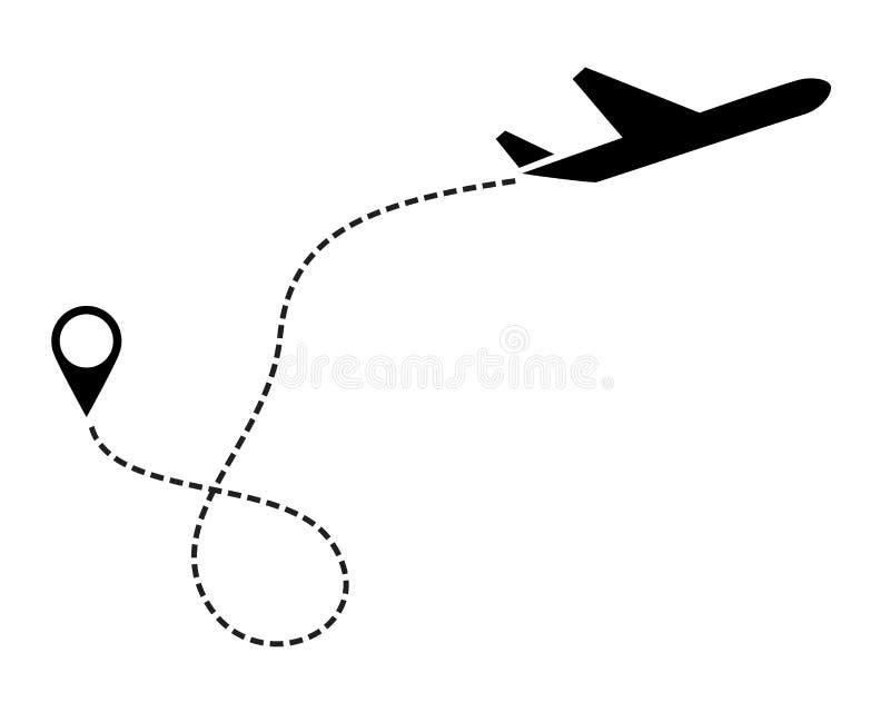 Чернота значка плоского вектора Символ для карты, воздушное судно ярлыка Editable иллюстрация хода иллюстрация вектора