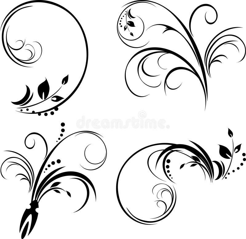 чернота изолировала установленные орнаменты белыми иллюстрация штока